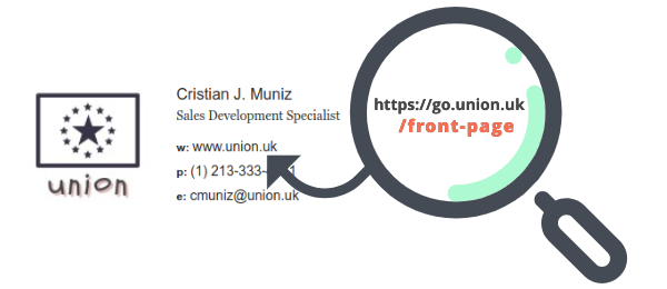 Example of shortened URL in email signature