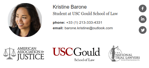Professional email signature example for lawyer