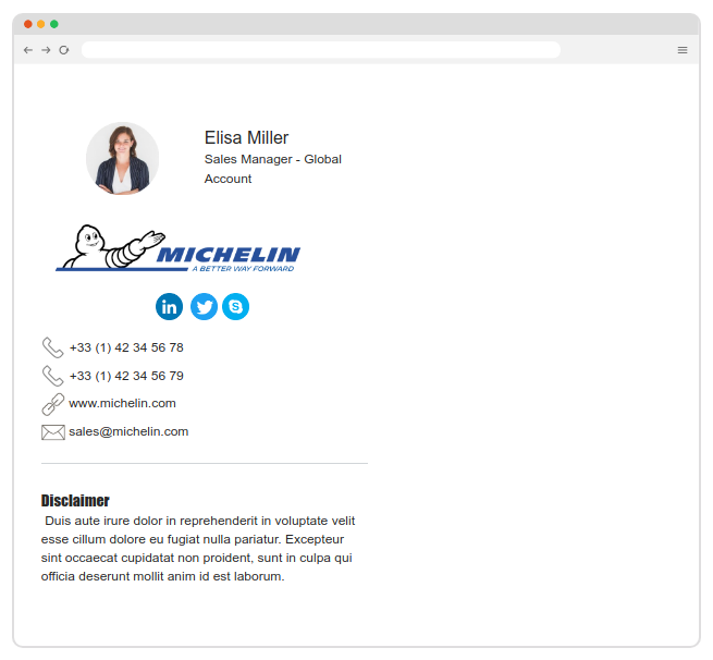 michelin email signature of Bybrand