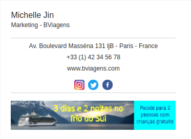 Assinatura de e-mail examplo - Bviagens