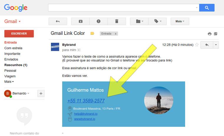 Gmail alterando os campos
