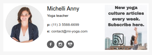 Email signature example  for yoga teacher