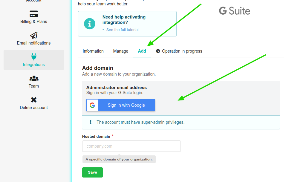 Add new domain in G Suite integration