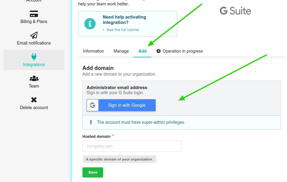 Adicionar novo domínio na integração do G Suite