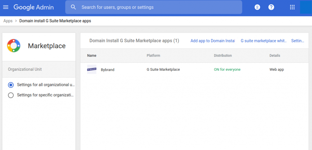 Google Workspace apps listed