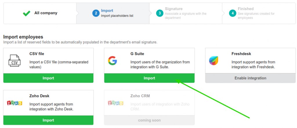 Importar usuários da integração com o G Suite