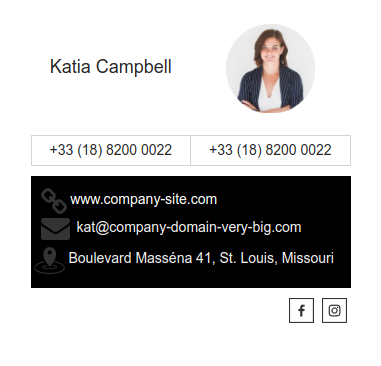 Email signature example Katia improved