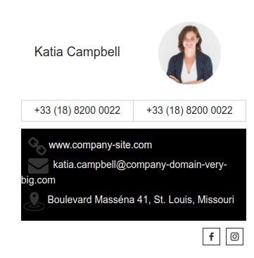 Email signature example Katia