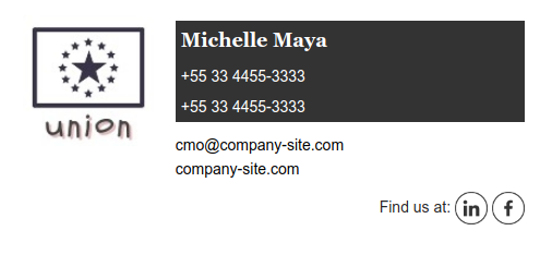 Email signature example Michelle Maya