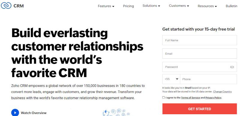Zoho CRM website