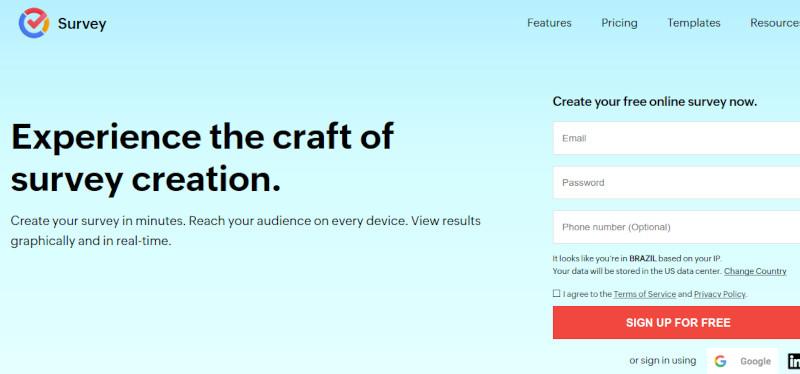 Zoho Survey website