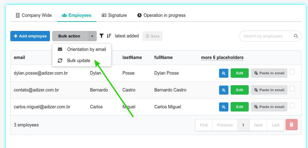 Bulk update email signature