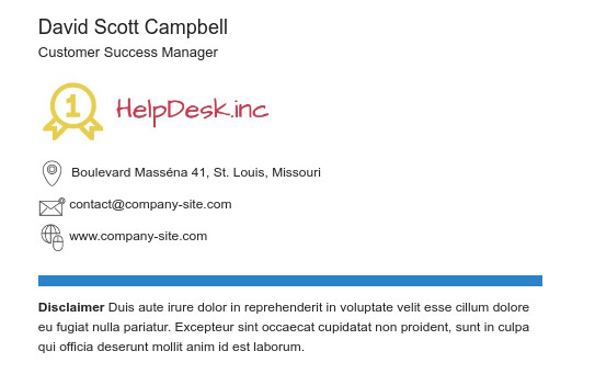 Email signature disclaimer example two