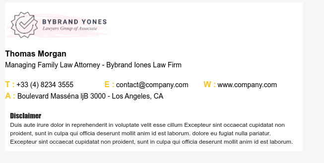 Law firm email signature example.