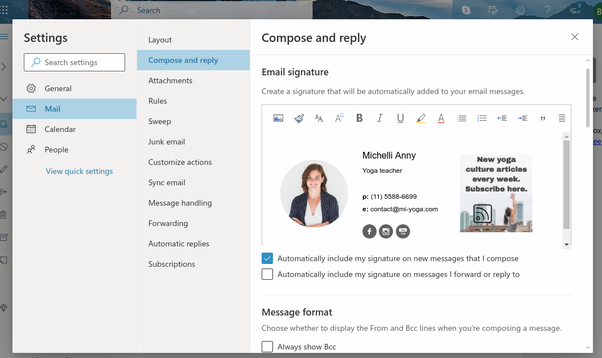 Example of professional email signature on Outlook.