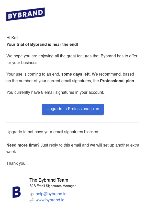 Bybrand Free Trial with minimalist email signature
