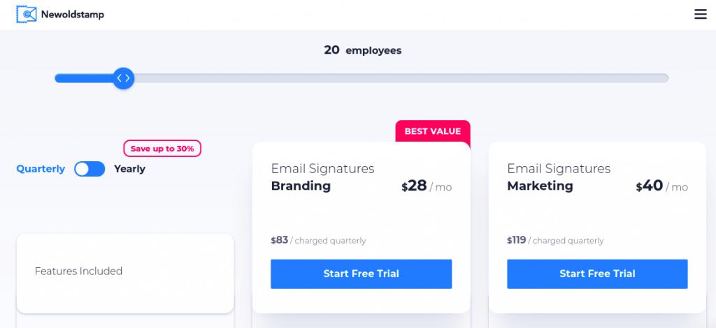 NewOldStamp preços para 20 funcionários