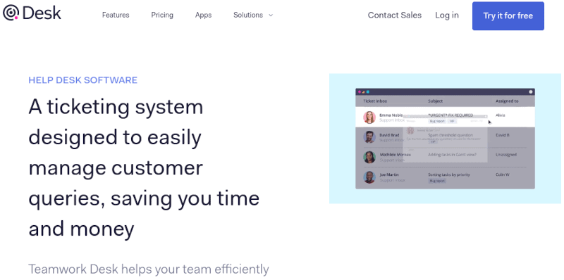 Teamwork Desk Homepage