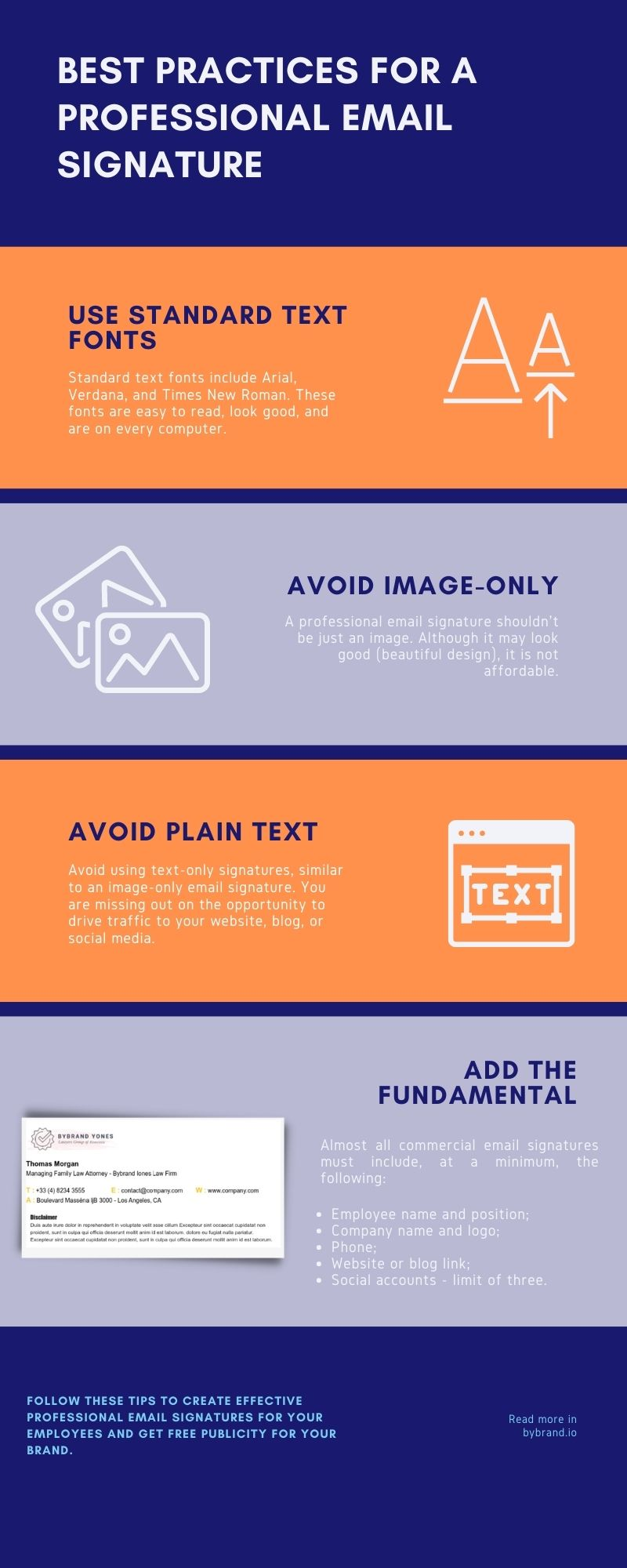Infographic the best practices for a frofessional email signature