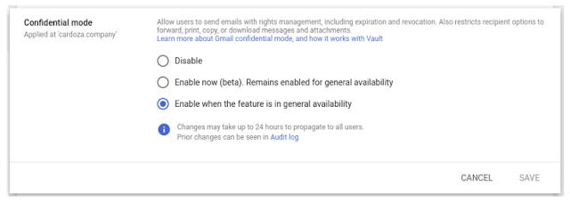 Gmail modo confidecial
