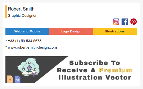 Email signature to professional graphic designer