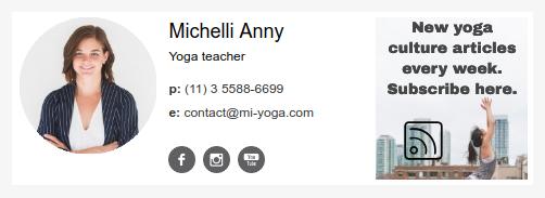 Assinatura de e-mail para uma professora de ioga