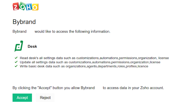 Zoho Desk OAuth accept