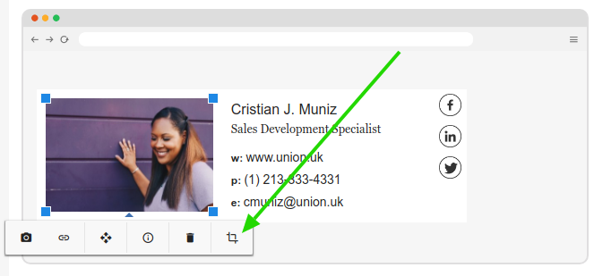 Email signature crop button