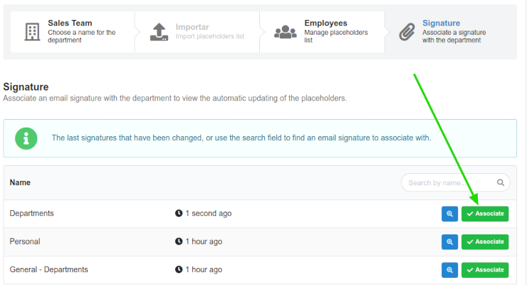 Set email signature in departments