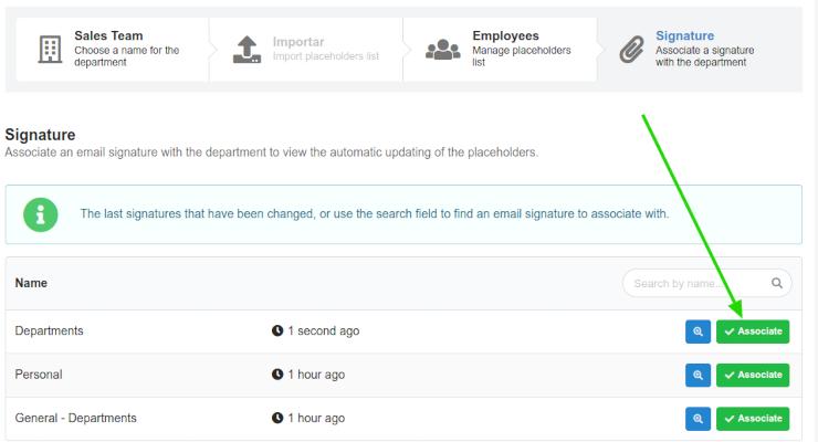 Associando uma assinatura de e-mail no departamento