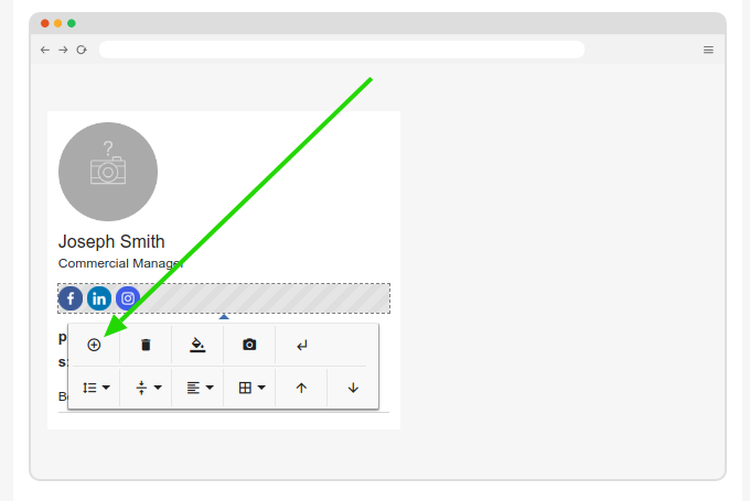 Add option in email signature