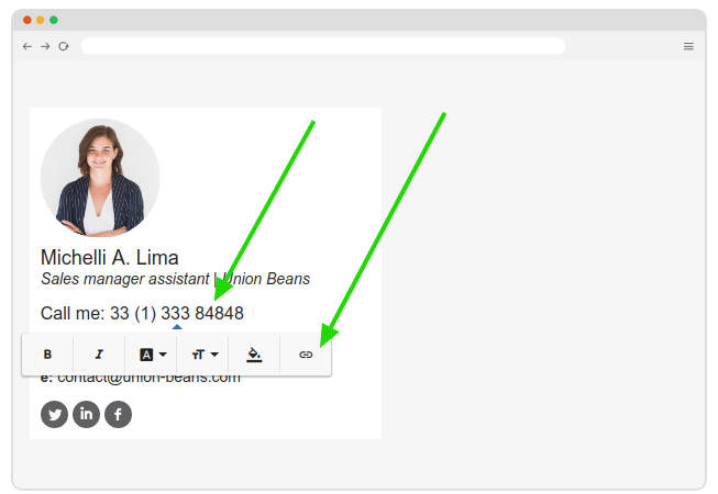 Add phone link in email signature