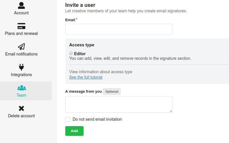 Convidando usuários