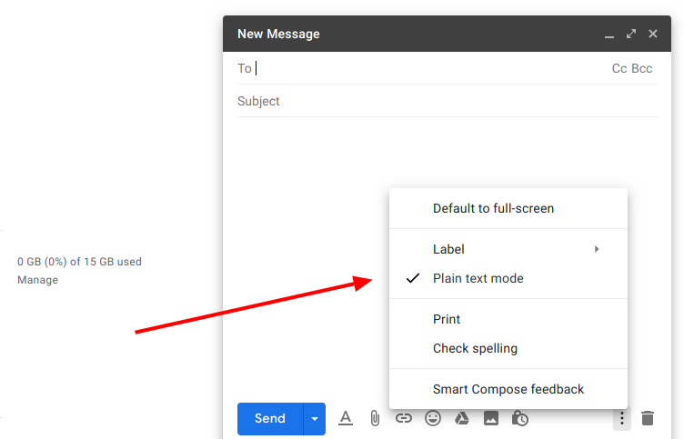 Disable plain text in Gmail