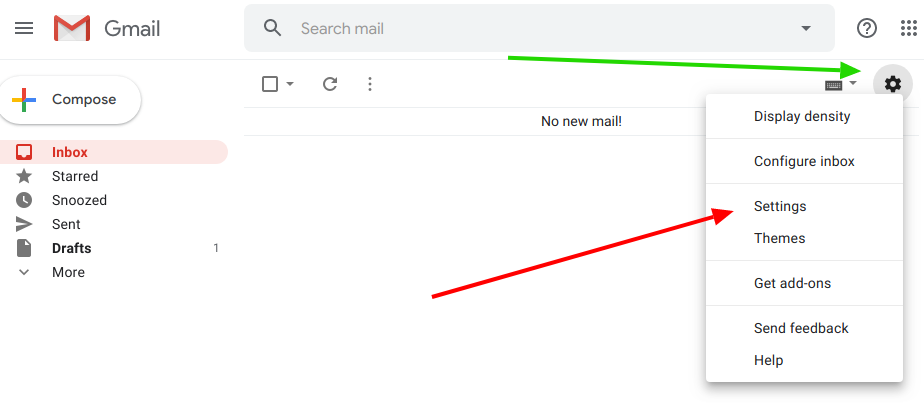 Gmail settings area
