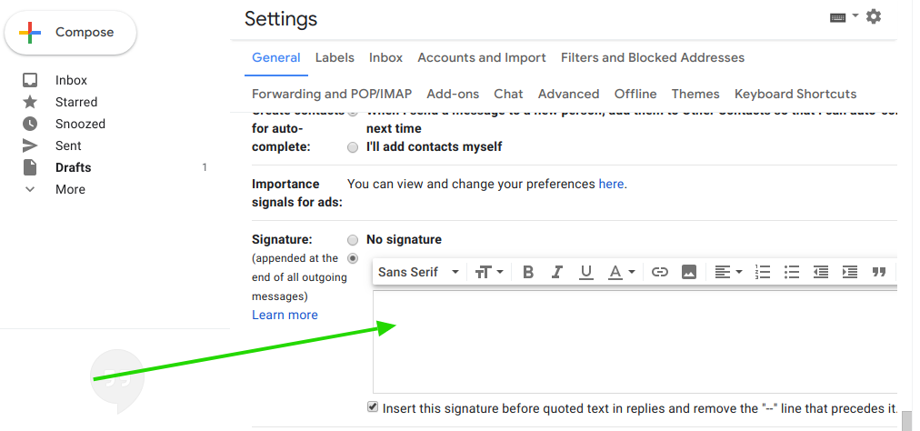 Gmail email signature area