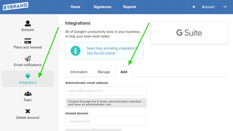 Bybrand add G Suite domain