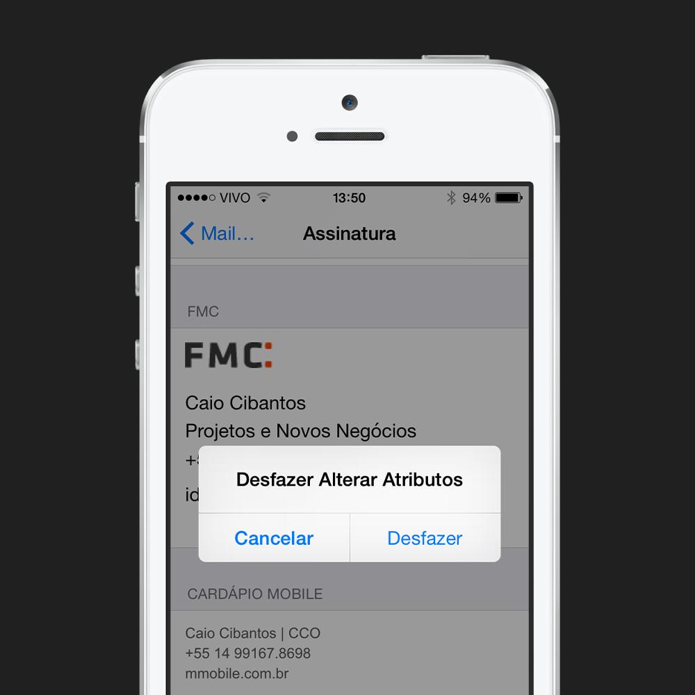 Assinatura de e-mail no iPhone - passo 3