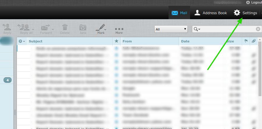 Roudcube webmail configurações