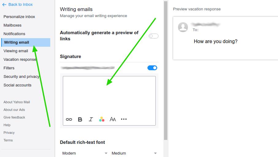 Yahoo! email signature area
