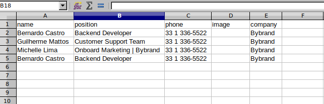 CSV file example