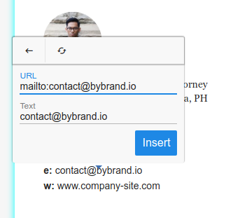 Email link in the email signature