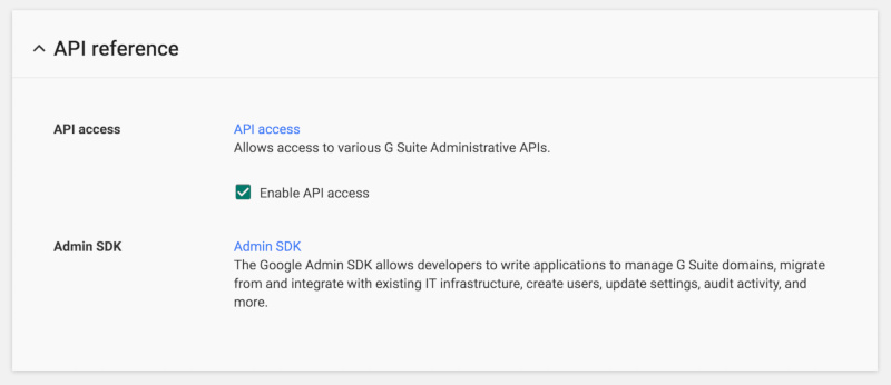 G Suite api enable