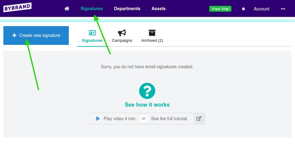 Criando a primeira assinatura de e-mail