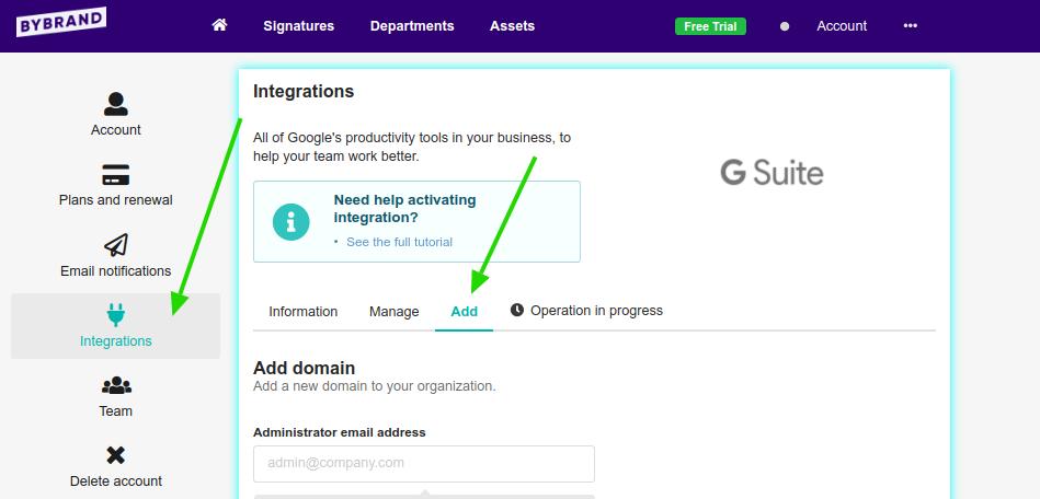 Adicionar um domínio do G Suite no Bybrand