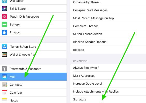 Email signature on iPad