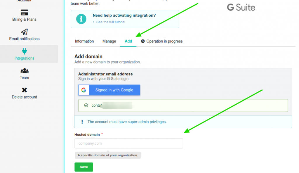 Add the Google Workspace domain on Bybrand