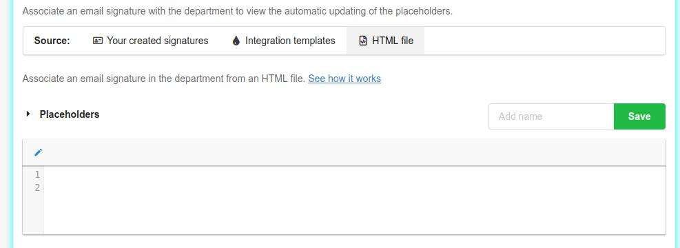 Editor HTML mode area