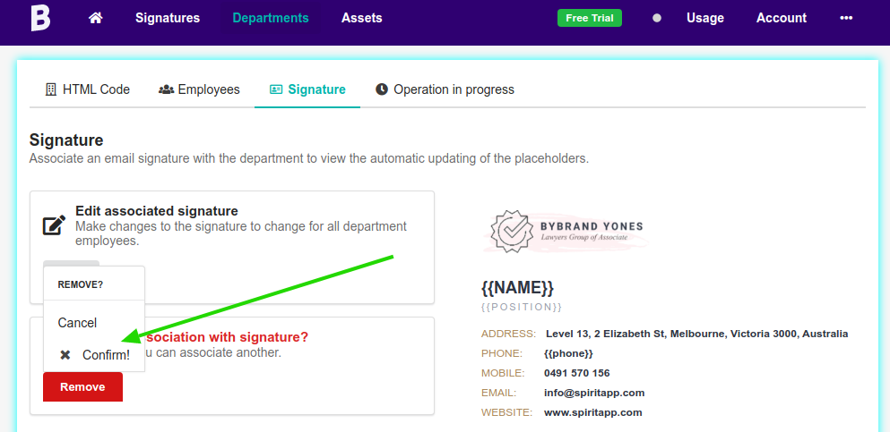 Remove signature of the department