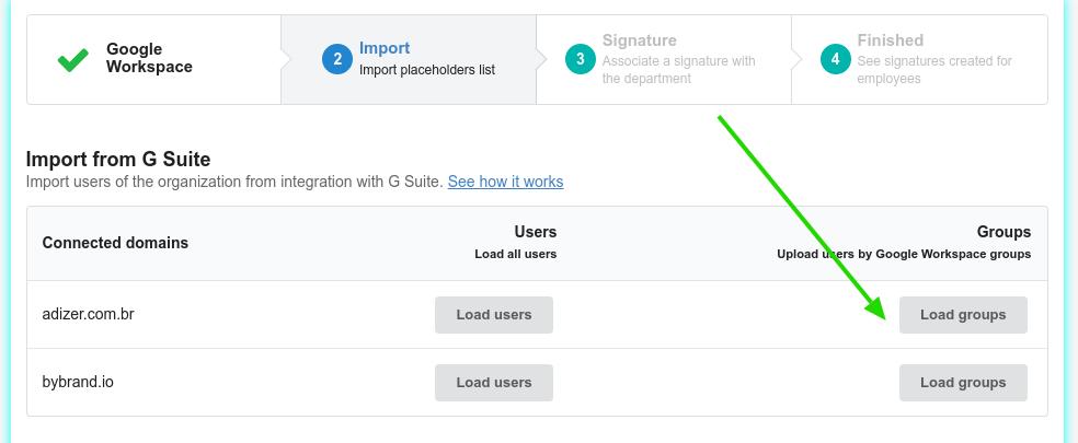 Importar de Grupos do Google Workspace